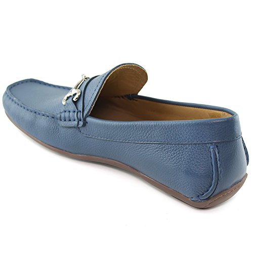 New in Made Wall Mens York Blue Brazil Joseph Grainy Leather Fasion Marc Street Loafer Grainy Buckle Steel 5pBfWRw