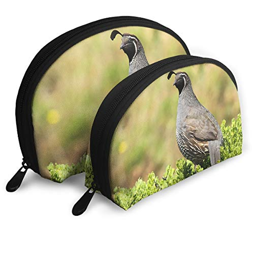 (X-JUSEN 2 Pack Portable Shell Makeup Storage Bag, Travel Cosmetic Bags, Print Quail Animal Natural Scenery Pouch Clutch Toiletry Organizer)