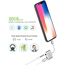 iPhone Adapter and Splitter, [Upgraded] KingYue Lightning to 3.5mm Headphone Jack Audio Adapter for iPhone X 8 7 Plus, Support Mic Call/Listen/Charge/Music Control (Need Bluetooth Connection)