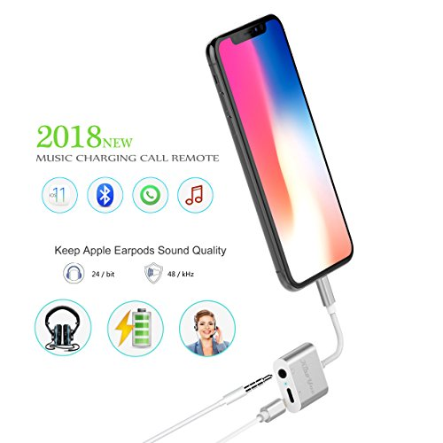 on sale e8c88 e13bf iPhone Adapter and Splitter, [Upgraded] KingYue Lightning to 3.5mm  Headphone Jack Audio Adapter for iPhone X 8 7 Plus, Support Mic ...