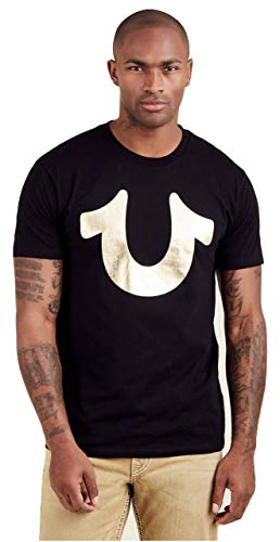 True Religion Men's Metallic Foil Horseshoe Tee T-Shirt (Large, Black/Gold)