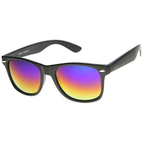 zeroUV ZV-8025-09 Retro Matte Black Horned Rim Flash Colored Lens Sunglasses, Classic | Black / Rainbow, - Lens Coloured Sunglasses