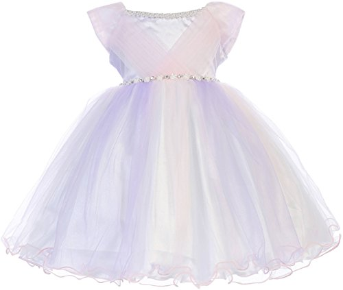 Little Baby Girls Adorable Pearl Neckline Jewels Tulle Flower Girl Dress Lavender M (J26K20)