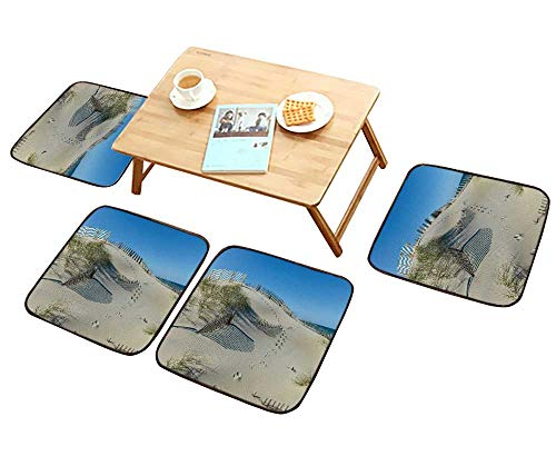 HuaWu-home Anti-Skid Chair Cushions Beautiful Sand Dune with Grasses and Pretty Fence Health is Convenient W19.5 x L19.5/4PCS Set