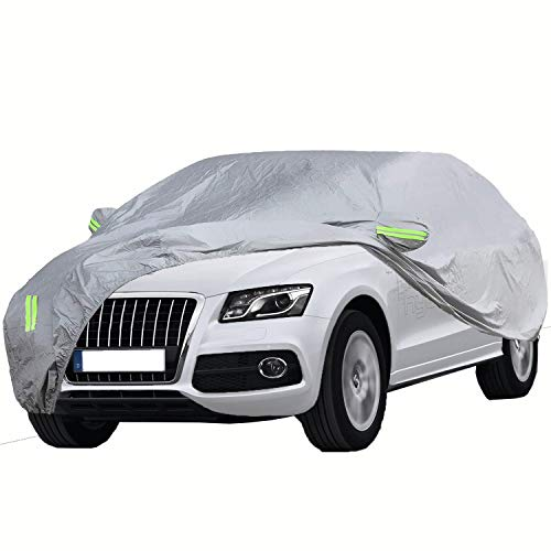 ELUTO SUV Car Cover Waterproof All Weather Full Car Covers Breathable Outdoor Indoor for Waterproof/Windproof/Dustproof/Scratch Resistant UV Protection Fits up to 191''(191''L x 75''W x 73''H) (Best Minivan For Snow 2019)