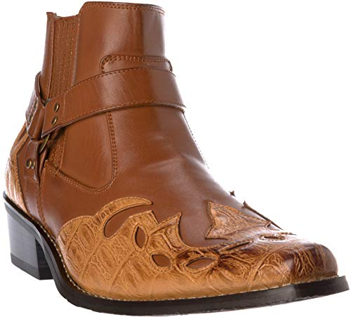 western11 Mens Western Style Cow-Boy Boots PU-Leather Brown Dress-Shoes Size ()