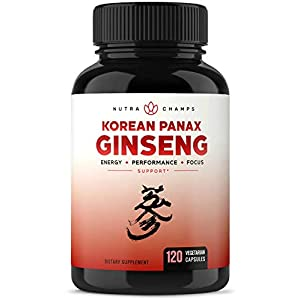 NutraChamps Korean Red Panax Ginseng 1000mg – 120 Vegan Capsules Extra Strength Root Extract Powder Supplement w/High Ginsenosides for Energy, Performance & Focus Pills for Men & Women