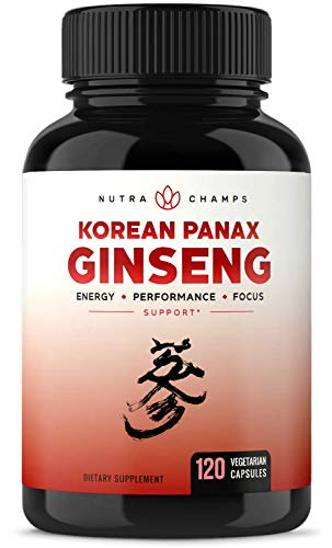 - NutraChamps Korean Red Panax Ginseng 1000mg - 120 Vegan Capsules Extra Strength Root Extract Powder Supplement w/High Ginsenosides for Energy, Performance & Focus Pills for Men & Women