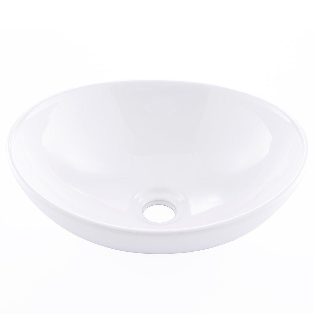 KINGO HOME Above Counter White Porcelain Ceramic Bathroom Vessel Sink outlet