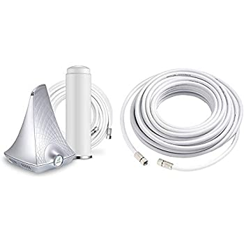 3G /& 50 RG-6 Coax Cable with F LTE Male Connectors Data for 4G White SureCall Flare Cell Phone Signal Booster for Home Omni Antenna Configuration| Boosts Voice