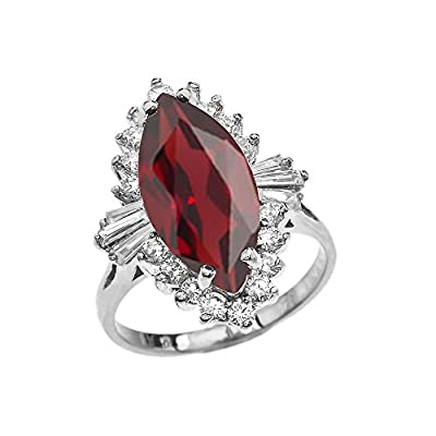 4 Carat January Birthstone Red Ballerina 14k White Gold Ring by Claddagh Gold