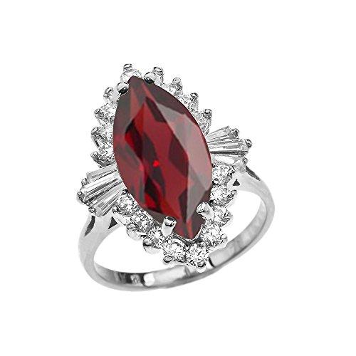 4 Carat January Birthstone Red Ballerina 14k White Gold Ring (Size 7.25) - Ballerina Gold Ring