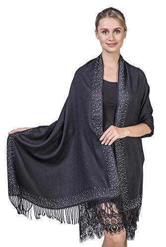 Niaiwei Cashmere Scarf Blanket Large Soft Pashmina Shawl Wrap For Men and Women (Diamond-ironing Black) by Niaiwei