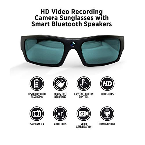 GoVision SOL 1080p HD Camera Glasses Video Recording Sport Sunglasses with Bluetooth Speakers and 15mp Camera - Black