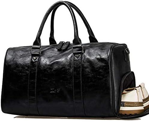 メンズポータブルトラベルバッグ多目的大容量スポーツバッグ独立した靴は耐性ソフトレザーブラックを着用してください HMMSP