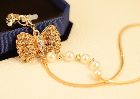 CJB Dust Plug / Earphone Jack Accessory Rhinestone Bow Pearl Chain Gold for iPhone 4 4s S4 5 All Device with 3.5mm Jack (US Seller)