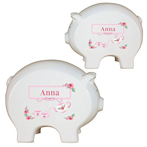 Personalized Tea Party Piggy Bank by MyBambino