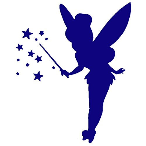 Tinkerbell LOGO ICON SYMBOL (NAVY BLUE) (set of 2) - silhouette stencil artwork by ANGDEST - Waterproof Vinyl Decal Stickers for Laptop Phone Helmet Car Window Bumper Mug Cup Door Wall (Silhouette Tinkerbell)