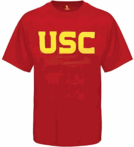 289c USC Trojans Mens Cardinal Wordmark Short Sleeve T Shirt Apparel (Large)