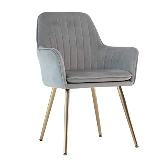 GOLDEN BEACH Velvet Dinning Chair Set of 1 Mid-Back Accent Chair Modern Leisure Armchair with Gold Plating Legs Upholstered Living Room Chair (Gray) - Soft Velvet Upholstery:Skin-friendly fabric design,elegant and delicate decoration in living room,dinning room and guest room. Ergonomic Design:Ergonomic design mid-back fits your back curve perfectly,soft back cushion support helps to relieve back tightness,comfy for long time seating. Sturdy Structure: Metal frame internal the dinning chair matches the high density foam add the steady of the whole chair.Weight capacity hold up to 250lbs. - living-room-furniture, living-room, accent-chairs - 418H%2BAe4GdL. SS570  -