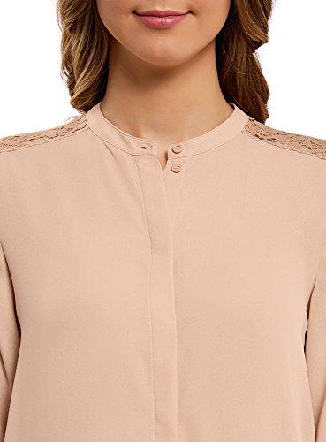 oodji Collection Mujer Blusa Holgada con Acabado de Encaje Beige (3300N)