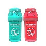 Twistshake 2x Anti-Colic 180ml / 6oz Turquoise / Peach