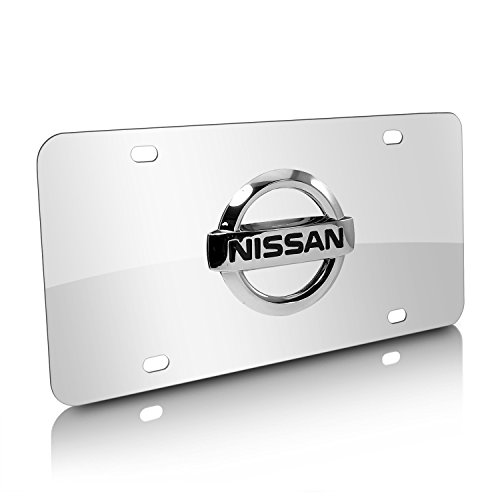 3d Nissan License Stainless Plate (Nissan 3D Logo Chrome Stainless Steel License Plate)