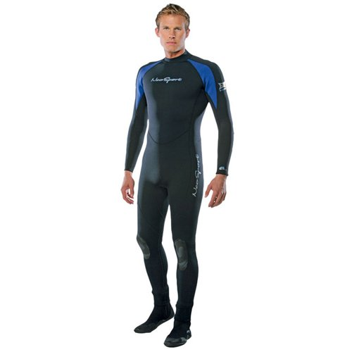 NeoSport Wetsuits Men's XSPAN 7mm Full Jumpsuit, Blue Trim, Small - Diving, Snorkeling & Wakeboarding