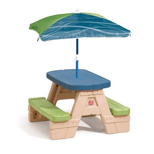 Step2 Sit and Play Kids Picnic Table With Umbrella (Table Picnic Plastic)