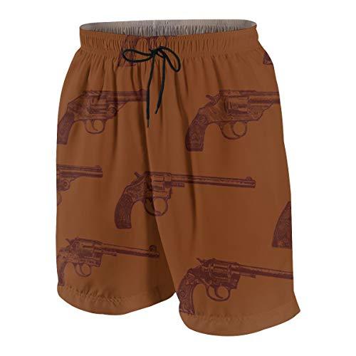 Niwaww Western Revolvers Boys Quick Dry Beach Board Shorts Kids Swim Trunk Swimsuit Beach Shorts with Mesh Lining