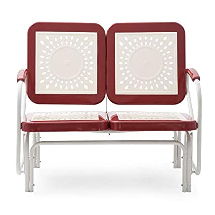 Amazon.com : Retro Vintage Style Red White Metal Patio Glider Bench ...