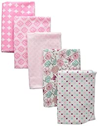 Luvable Friends Flannel Receiving Blankets, Flowers, 5 Count