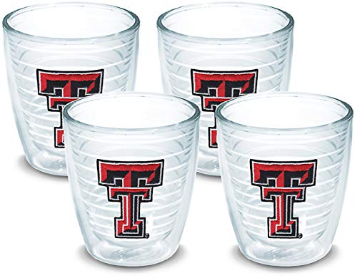 Tervis 1007955 Texas Tech Red Raiders Logo Tumbler with Emblem 4 Pack 12oz, Clear ()