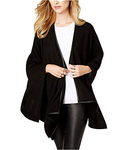 Charter Club Women's Cashmere Faux-Leather-Trim Poncho Cardigan (Deep Black, X-Small)