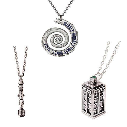 Doctor Who 4 Pack Different Necklace  Wibbly Wobbly Timey Wimey Pendant 11th Doctor Sonic Screwdriver Pewter Finish PENDANT Necklace Inspired 3D Police Box  Chain (Brilliant Pewter Finish)