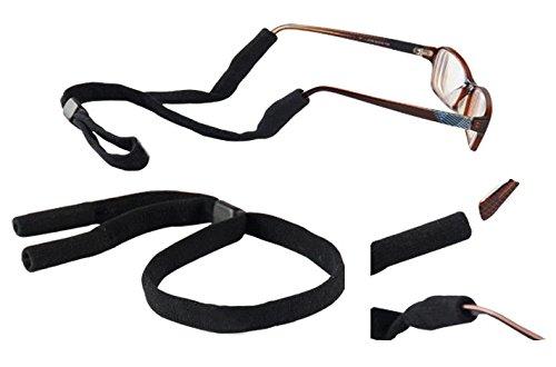 Cinturino di ritenzione per occhiali da vista, da sole, di sicurezza e sportivi, si indossa al collo, adatto a uomini e donne, colore nero