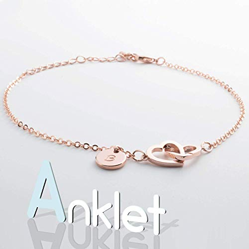 Personalized Two Hearts Anklet Initial Hand stamped 16k Gold Rose Gold White Gold Plated Birthday Bridesmaids Christmas Wedding Gift Custom Made Body Jewelry
