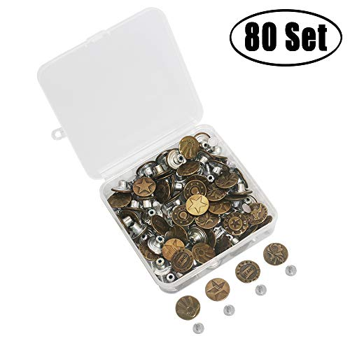 Aipaide 80 Set Metal Jeans Buttons Tack Buttons 8 Style with Storage Box Jacket Buttons Replacement Kit for Jeans, Jacket, Suspenders