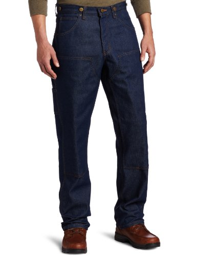 Key Apparel Men's Relaxed Fit Indigo Denim Double Front Logger Dungaree, Denim, 36x30