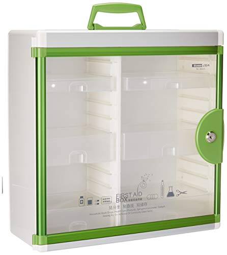 Glosen Locking Medicine Cabinet Wall Mounted and Portable Storage Container Big Capacity Green (Best Your Momma Joke Ever)