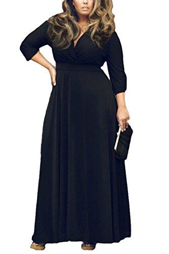 Women's Solid V-Neck 3/4 Sleeve Plus Size Evening Party Maxi Dress XXL Black