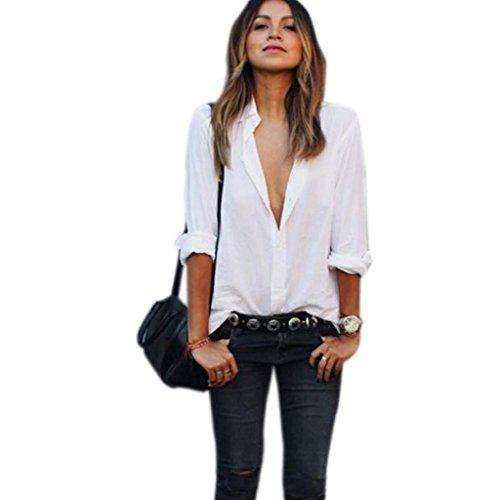 NOMENI 1PC Women Blouse Long Sleeve Shirt Chiffon Large Size Casual Shirts V Neck (L, White) - Printed Tie Waist Cami