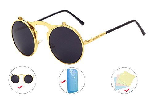 Minidot Gothic Steampunk Vintage Flip Up Round Metal Frame Sunglasses Goggles (Gold, black - Flip Steampunk Up Goggles