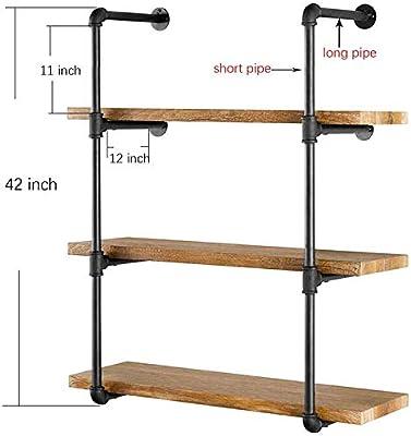 HIMA Industrial Rústico Escalera de Madera Moderna Tubería Estante de Pared Estantería de diseño de estantería DIY Estantería: Amazon.es: Hogar