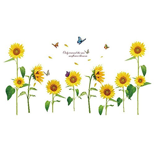 SODIAL(R)Sunshine Sunflower Butterfly Dancing in Summer Beautiful Removable Wall Stickers DIY Kid's Child Room Decor Decal LM858 (90 60cm - In The Summer Dancing