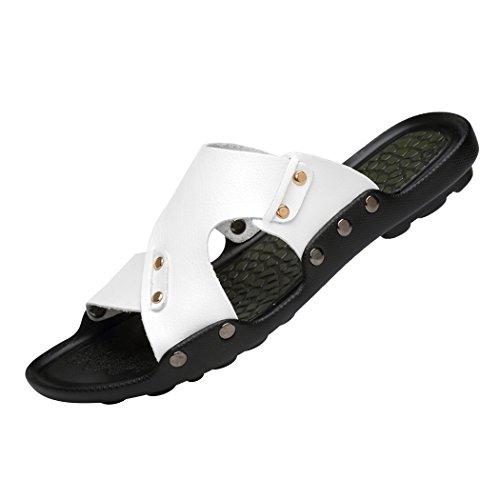 Sol Lorence Sommar Män Mode Öppen Tå Läder Sandaler Skor Strand Platta Tillfälliga Tofflor Vit