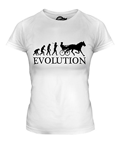 CandyMix Women's Horse And Cart Racing Evolution Of Man T Shirt Fitted T-Shirt Top, Size 3X-Large, Color White -