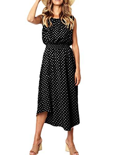 Kaei&Shi Mid-Length Polka Dot Dress,Asymmetrical Dresses for Women,High Waist Flowy Tank Dress Black Large