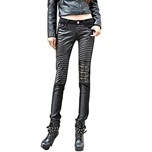 VASHOP Women's Leather Steampunk Pants Skinny Legging Tights Pencil Pants