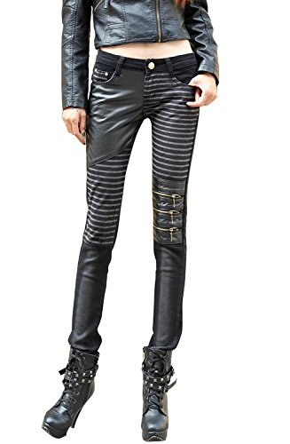 VASHOP Women's Leather Steampunk Pants Skinny Legging Tights Pencil Pants 3